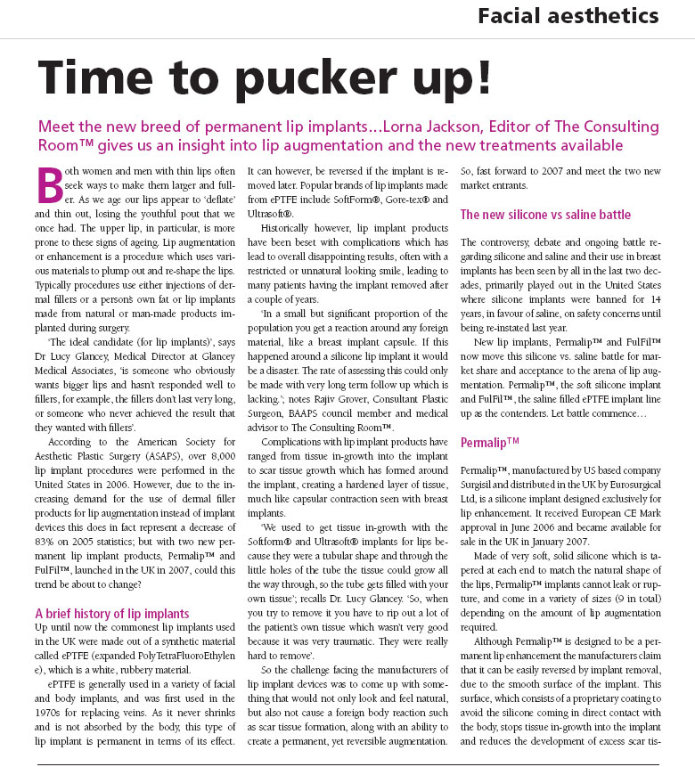 Aesthetic Dentistry Today - Time to Pucker Up! - Page 1