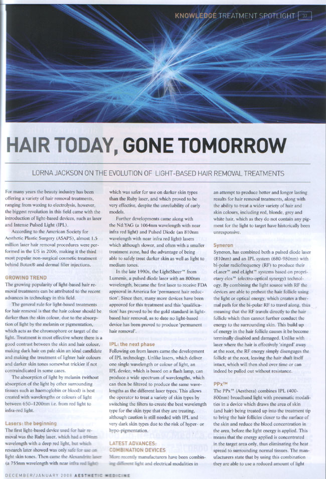 Aesthetic Medicine - December/January 2008 - Hair Today, Gone Tomorrow Page 1