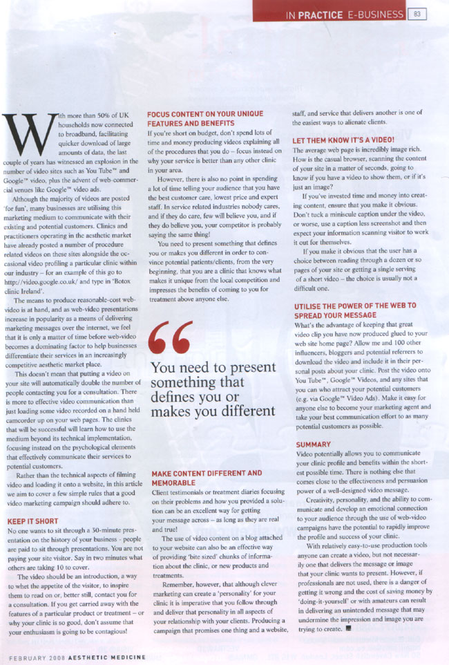 Aesthetic Medicine - February 2008 - Video Messaging Page 2