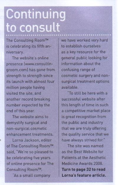 Aesthetic Medicine June 2008 - Continuing to Consult