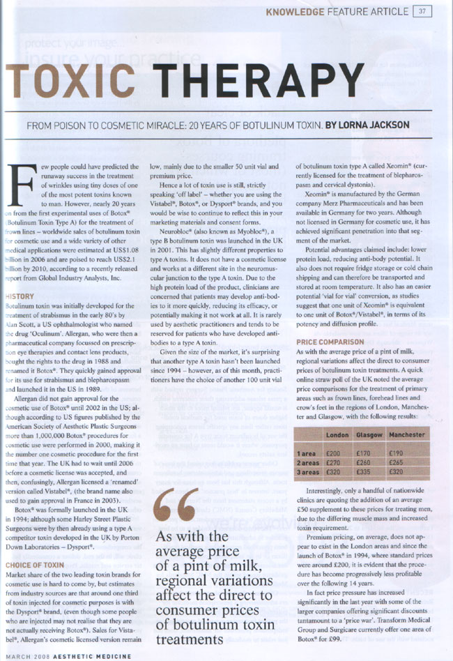 Aesthetic Medicine - March 2008 - Toxin Therapy Page 1