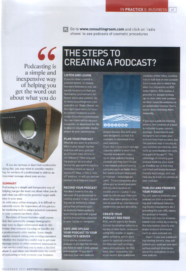 Aesthetic Medicine Magazine November 2007 - Using Podcasts to Communicate With Your Customers Page 2