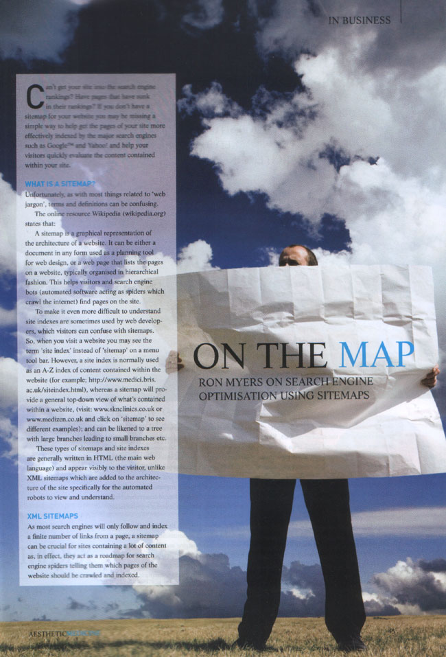Aesthetic Medicine Magazine October 2007 - Search Engine Optimisation Using Sitemaps Page 1
