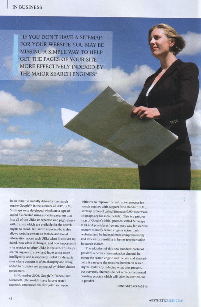 Aesthetic Medicine Magazine October 2007 - Search Engine Optimisation Using Sitemaps Page 2
