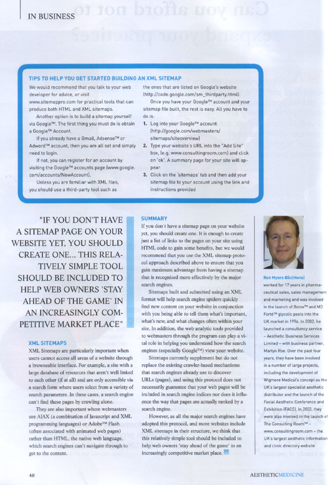 Aesthetic Medicine Magazine October 2007 - Search Engine Optimisation Using Sitemaps Page 3