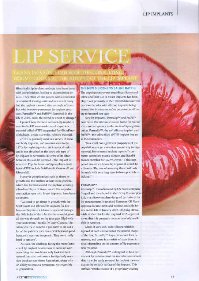 Aesthetic Medicine Magazine September 2007 - Lip Service Page 1