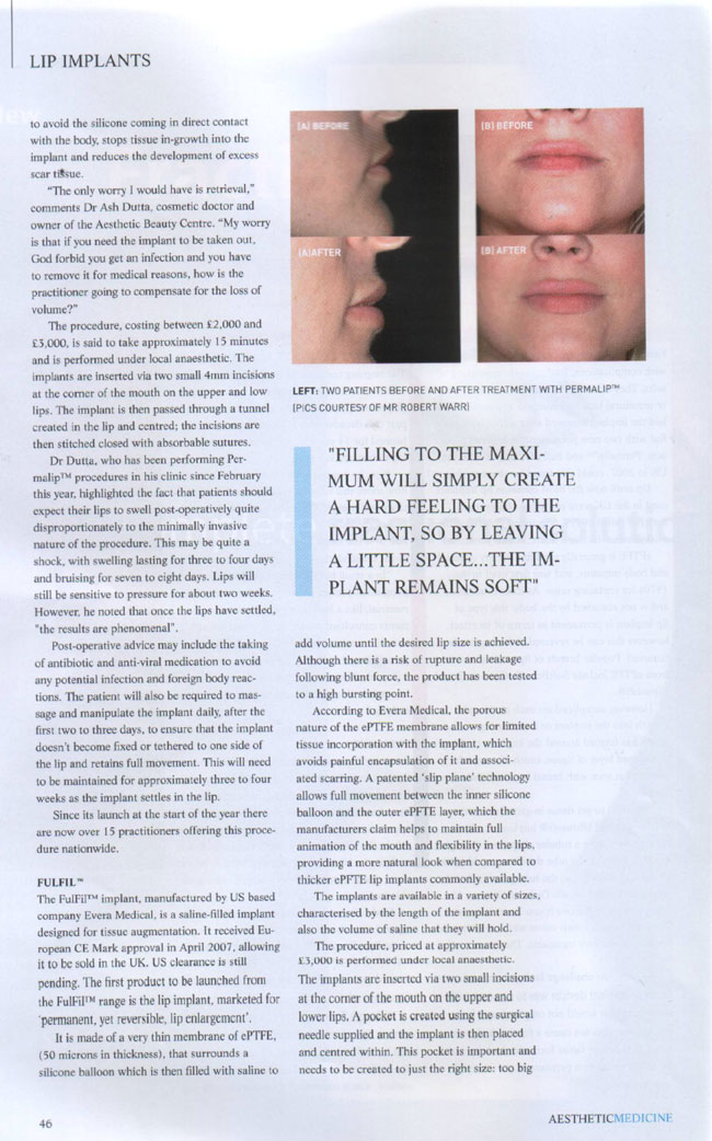 Aesthetic Medicine Magazine September 2007 - Lip Service Page 2