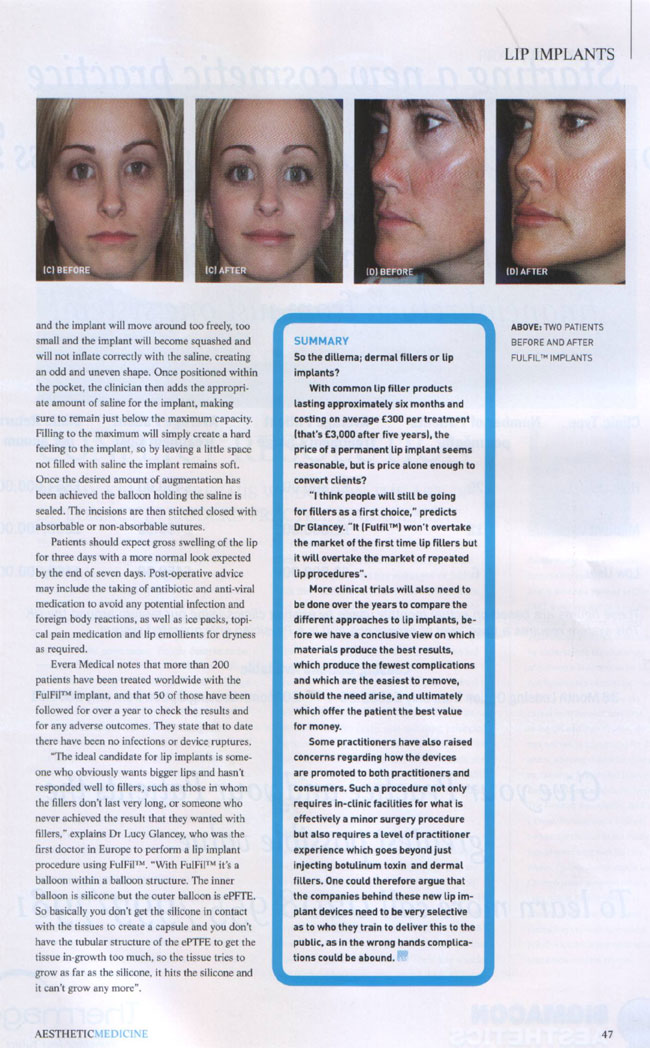Aesthetic Medicine Magazine September 2007 - Lip Service Page 3
