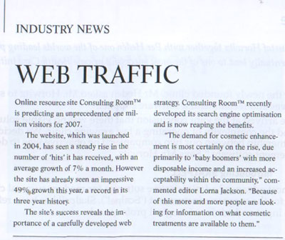 Aesthetic Medicine Magazine September 2007 - Web Traffic