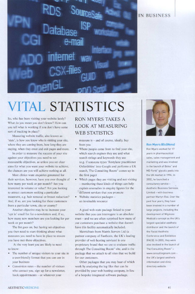 Aesthetic Medicine Magazine February 2007 - Vital Statistics Page 1