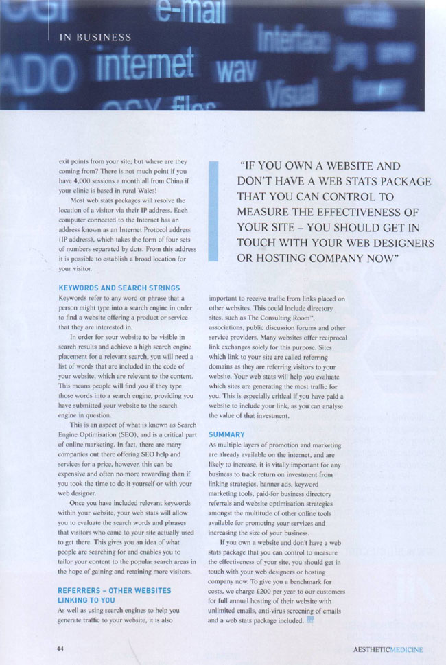 Aesthetic Medicine Magazine February 2007 - Vital Statistics Page 3