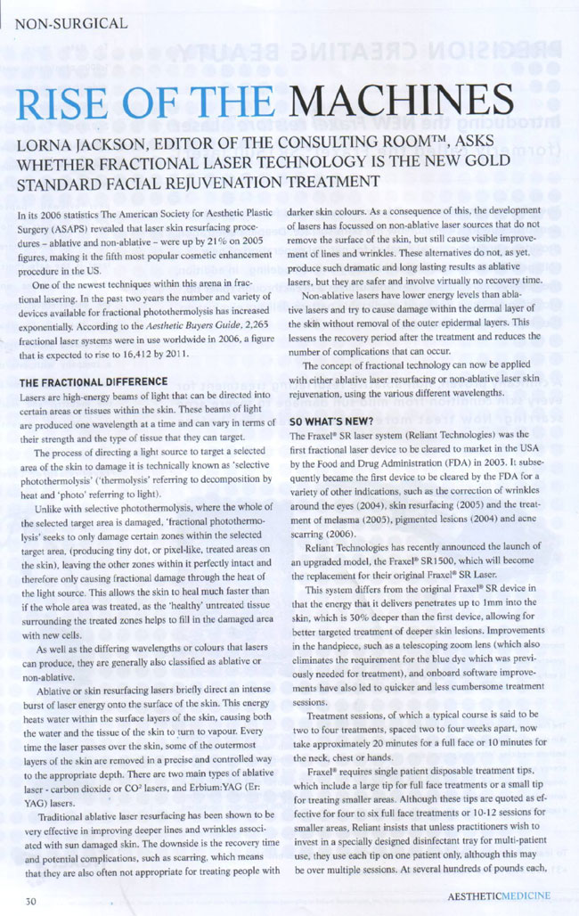 Aesthetic Medicine Magazine June 2007 - Rise of The Machines Page 1