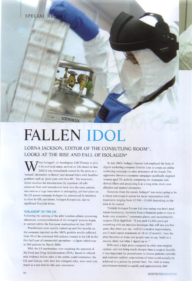 Aesthetic Medicine Magazine March 2007 - Fallen Idol Page 1