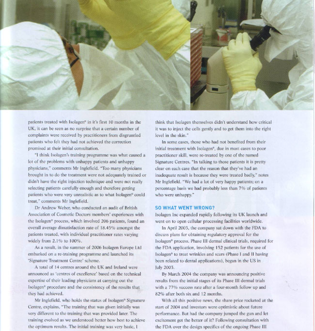 Aesthetic Medicine Magazine March 2007 - Fallen Idol Page 2
