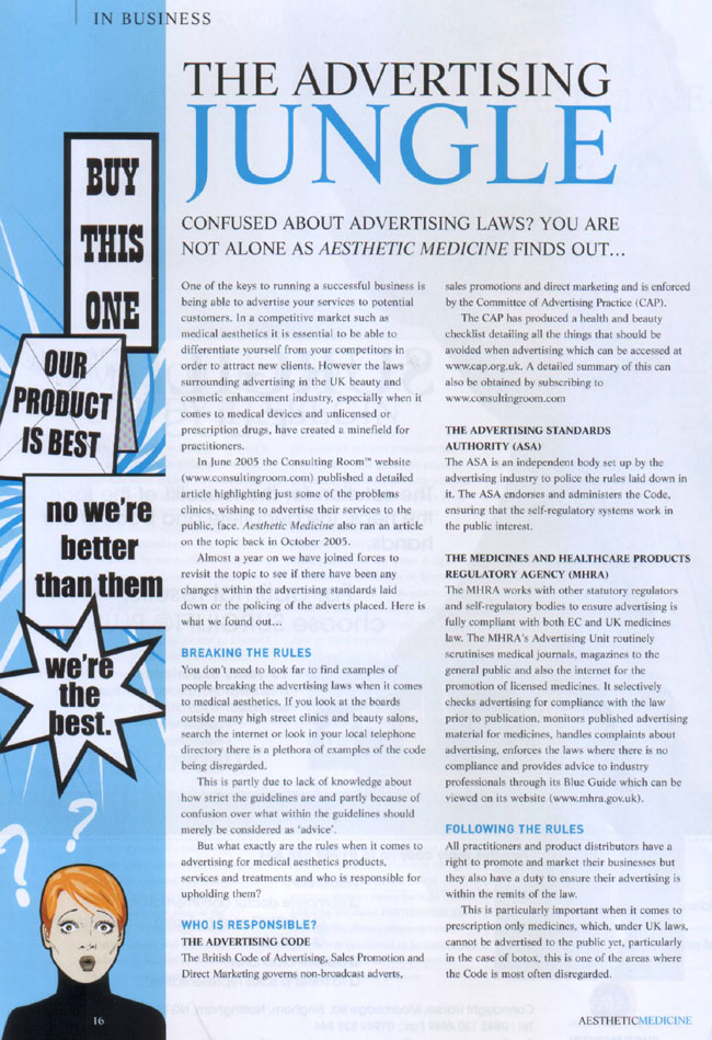 Aesthetic Medicine June 2006 - Advertising Jungle Page 1