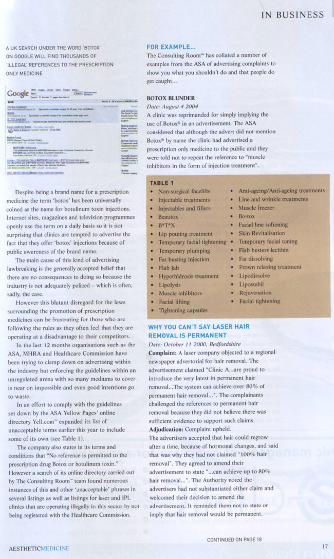 Aesthetic Medicine June 2006 - Advertising Jungle Page 2