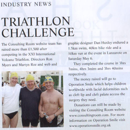 Aesthetic Medicine June 2006 - Consulting Room Triathlon Challenge