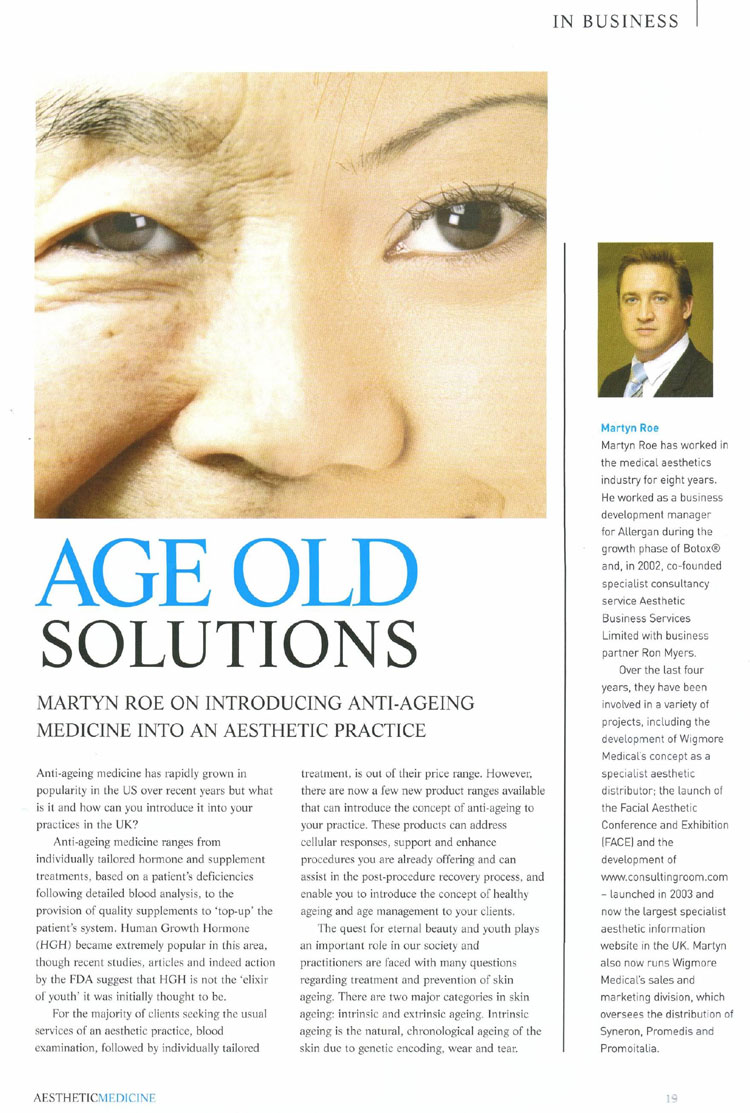 Aesthetic Medicine - Age Old Solutions Page 1