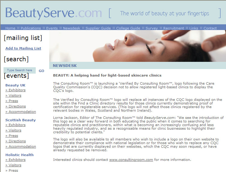 Verified By Consulting Room Logo Launch in BeautyServe.com