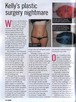 Glamour Magazine - Kelly`s Plastic Surgery Nightmare Page 1