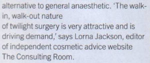 Zest Magazine November 2006 - Surgery While You Wake Consulting Room Comment