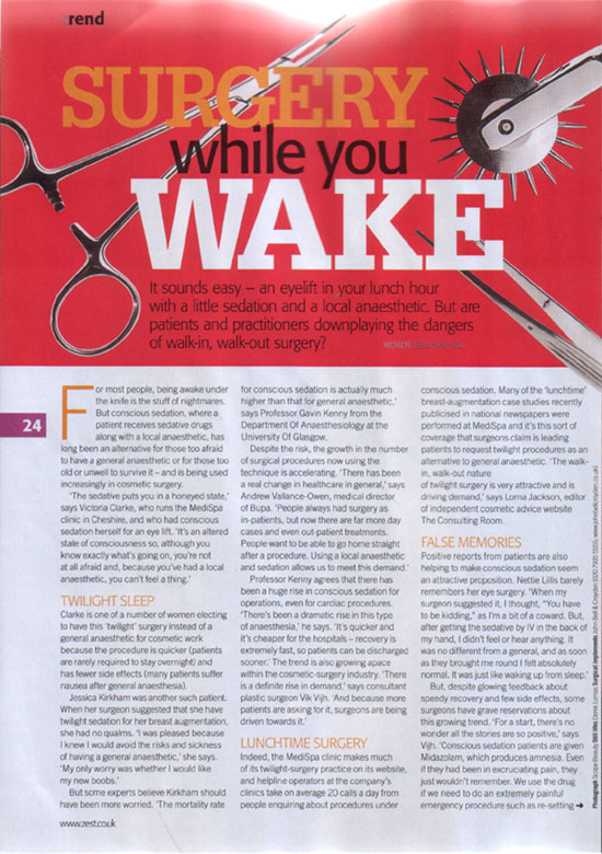 Zest Magazine November 2006 - Surgery While You Wake