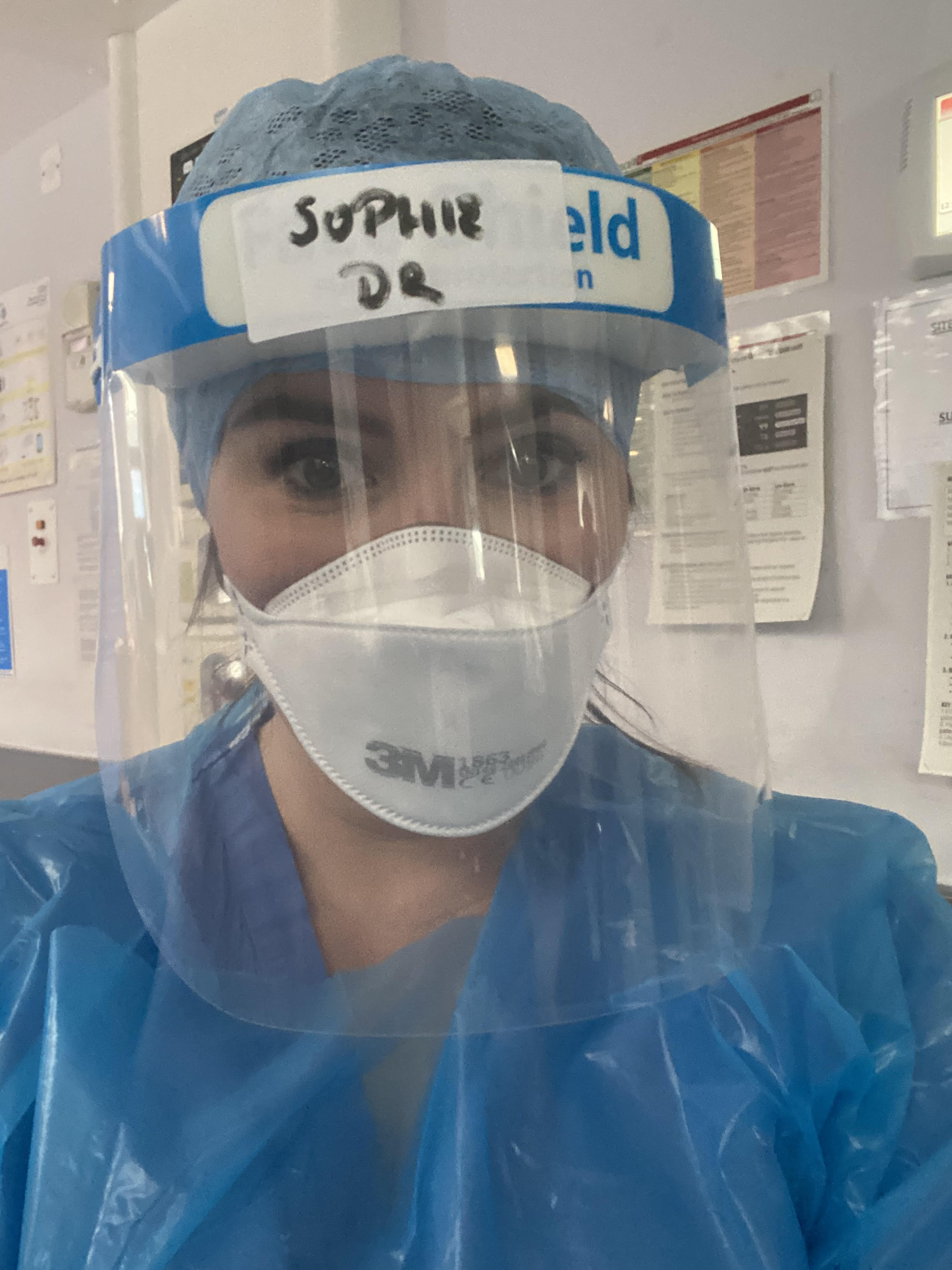 Dr Sophie Shotter dressed in PPE on the NHS Covid wards