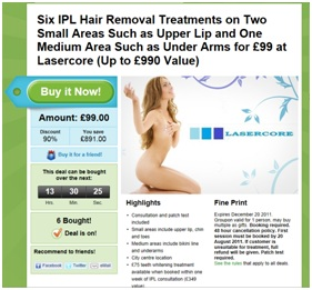 GroupOn - IPL / Laser Hair Removal Deal