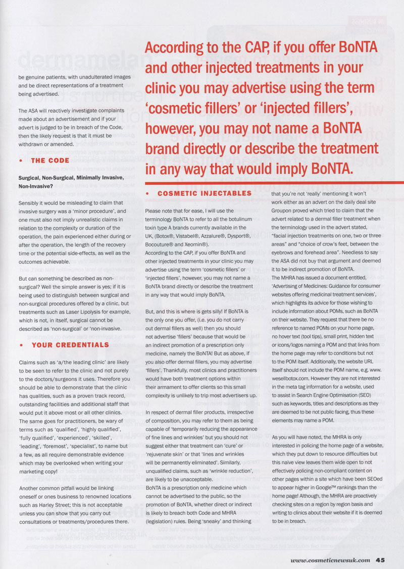 Cosmetic News May 2013 - Advertising regulations Page 2