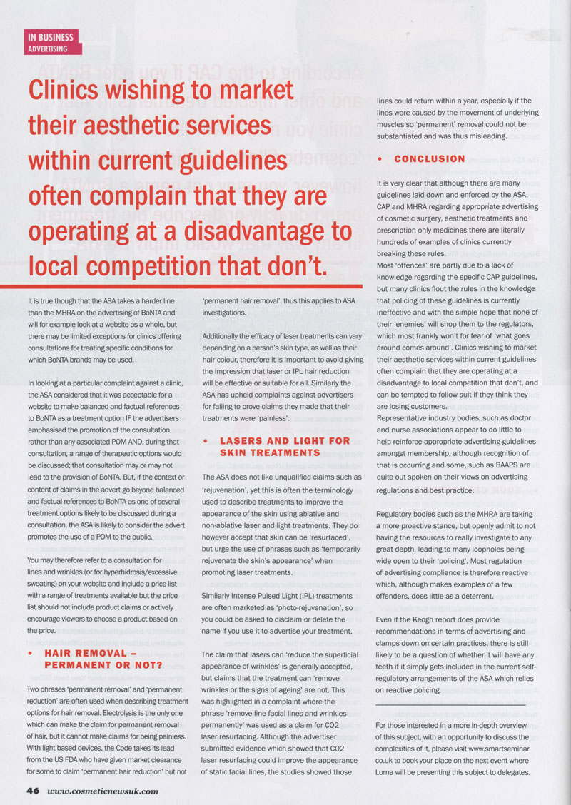 Cosmetic News May 2013 - Advertising regulations Page 3