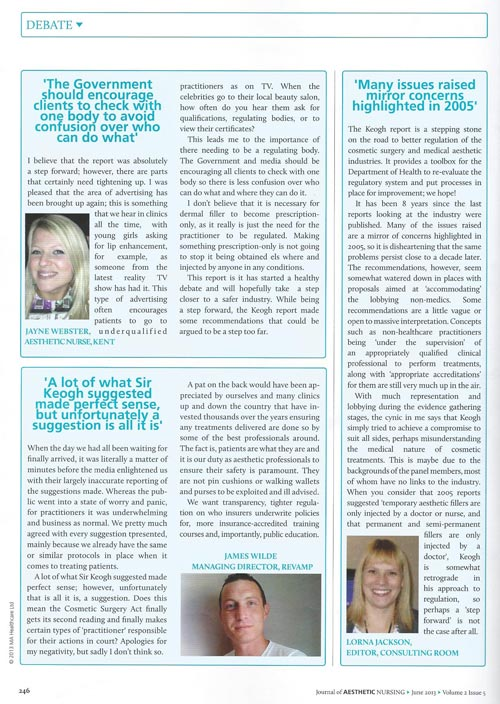 JAN - Journal of Aesthetic Nursing - Keogh Debate