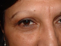 Eyebrow on female before micropigmentation