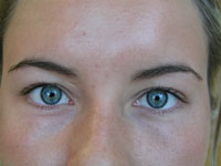 Eyes on a female before semi permanent make-up